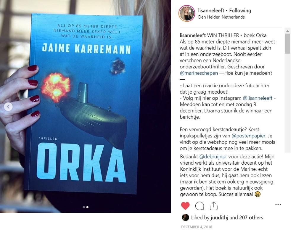 Winactie lisanneleeft Jaime Karreman Orka Thriller