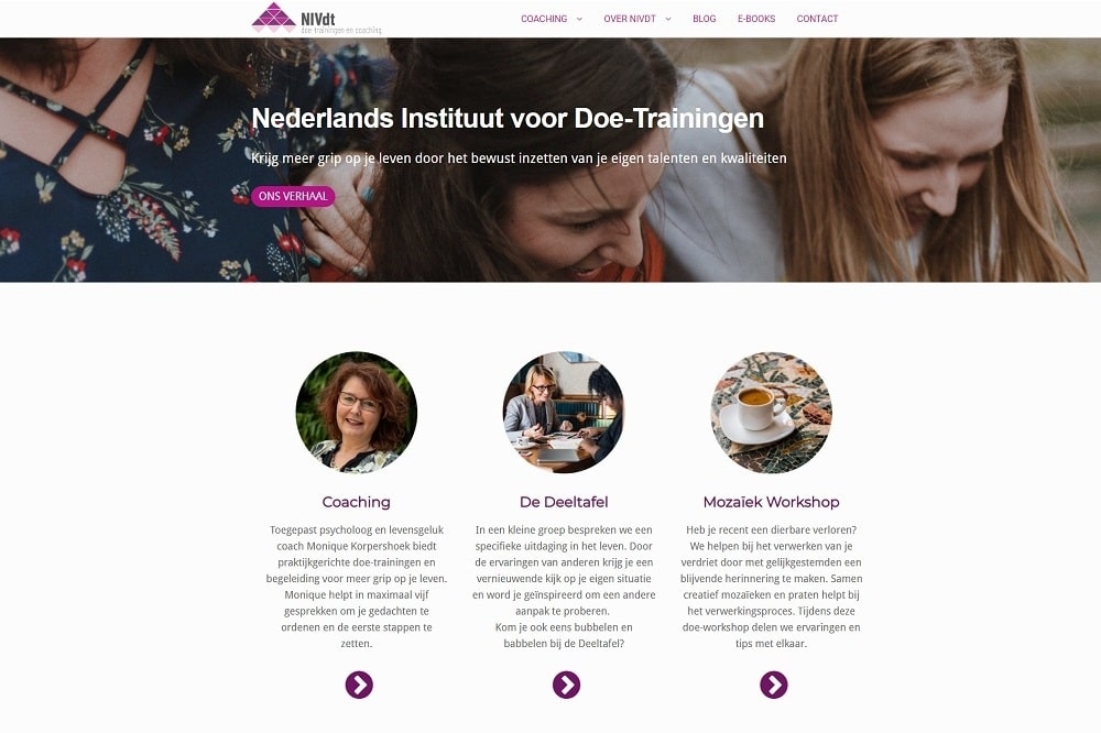 Homepage doetrainingen.nl Monique Korpershoek