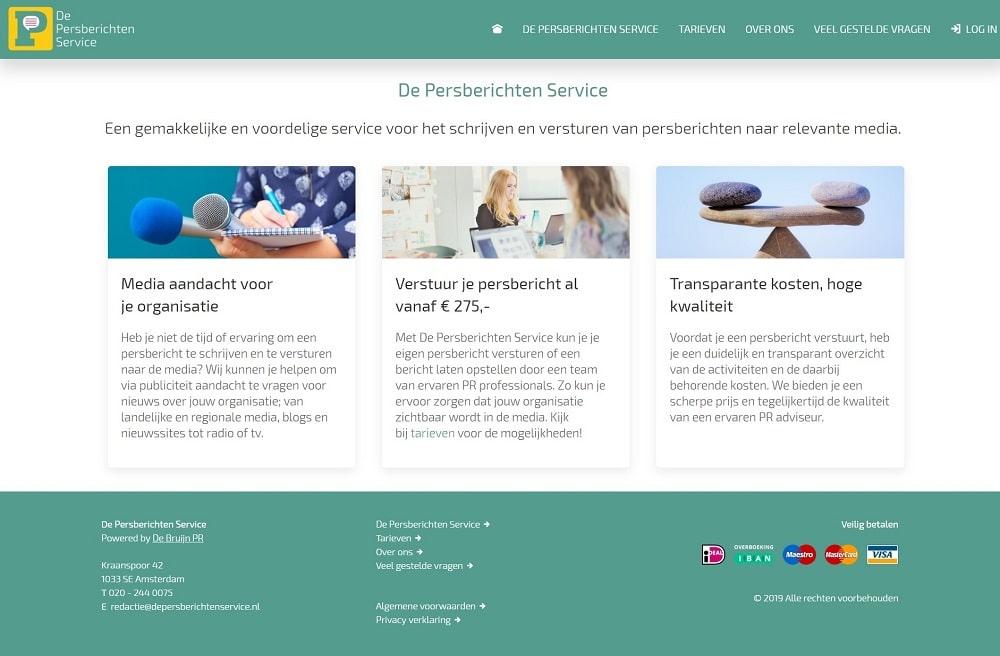 De Persberichten Service homepage