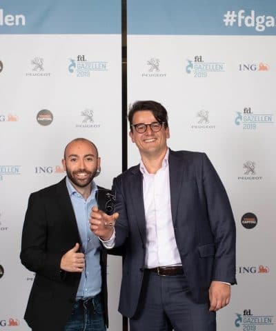 Hans Nieuwenhuis neemt de prestigieuze ondernemersprijs in ontvangst tijdens de feestelijke uitreiking van de FD Gazellen Awards 2019 in de Philharmonie in Haarlem.